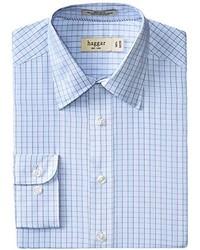 Haggar Check Poplin Long Sleeve Regular Fit Point Collar Shirt