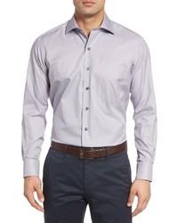 David Donahue Regular Fit Microcheck Sport Shirt
