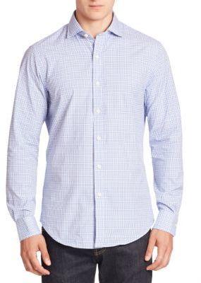 Polo Ralph Lauren Slim Fit Button Collar Long Sleeve Shirt Blue