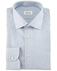 Textured check long sleeve dress shirt light blue medium 705106