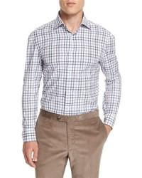 Windowpane check long sleeve sport shirt blue medium 843423
