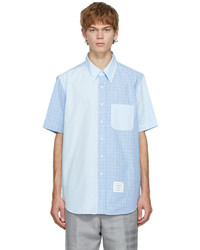 Thom Browne Blue Funmix Hairline Check Short Sleeve Shirt