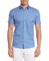 Peter Millar Crown Soft Cabernet Check Short Sleeve Sport Shirt