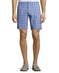 Zachary Prell Antrorse Check Stretch Cotton Shorts Blue