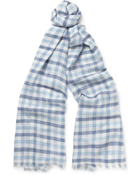 Light Blue Check Silk Scarf