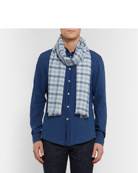 Checked Cashmere Silk And Hemp Blend Scarf