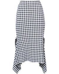 Rosetta Getty Asymmetric Checked Skirt