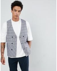 ASOS DESIGN Longline Waistcoat In Blue Seersucker Check