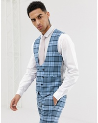 Twisted Tailor Super Skinny Waistcoat In Blue Check
