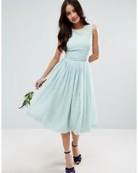Wedding midi dress with rouche panel detail medium 5069856
