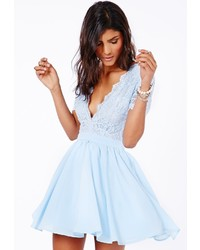 77e69cdf524d1 ... Out of stock · Missguided Aleena Eyelash Lace Plunge Neck Puffball Mini  Dress In Baby Blue