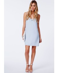 16665265c0a8c Missguided Aleena Eyelash Lace Plunge Neck Puffball Mini Dress In Baby Blue  Out of stock · Missguided Delunara Diamond Embellished Chiffon Cami Dress