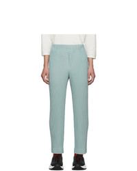 Homme Plissé Issey Miyake Blue Pleats Tailored Straight Leg Trousers