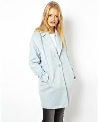 Asos Fluffy Cocoon Coat Light Gray