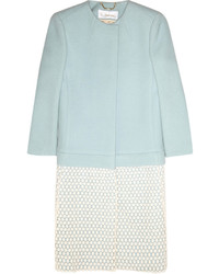 Chloé Herringbone Wool Blend And Macram Coat