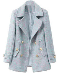 Choies Light Blue Lapel Double Breasted Woolen Coat