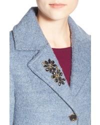 Eliza J Embellished Boucle Reefer Coat