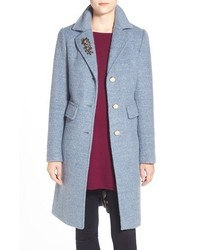 Embellished boucle reefer coat medium 402675