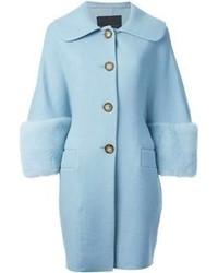 Ermanno Scervino Oversized Mink Fur Inserts Coat