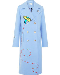 Mira Mikati Fly Away Rocket Appliqud Wool Blend Coat Blue