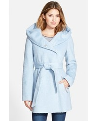 GUESS Hooded Shawl Collar Wrap Coat