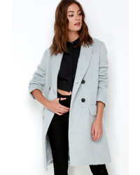 J.o.a. Joa Central Park Light Blue Grey Coat