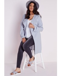 Missguided Plus Size Longline Crepe Mac Light Blue