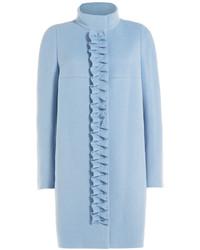 Paule Ka Wool Coat With Ruffled Front