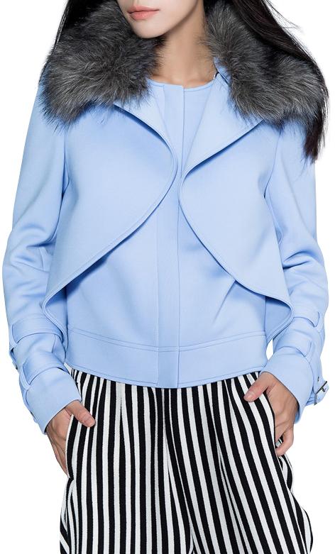 ChicNova Pure Color Fur Collar Fake Two Piece Coat