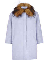River Island Blue Faux Fur Collar Oversized Wool Coat