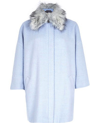 River Island Light Blue Faux Fur Collar Oversized Coat