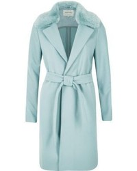 River Island Light Blue Faux Fur Collar Robe Coat