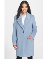 Elie Tahari Sicily One Button Wool Blend Notch Collar Coat