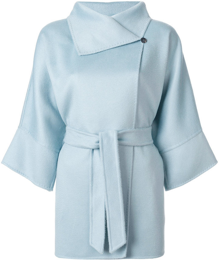 5dd6b9cfce38 Women's Fashion › Outerwear › Coats › farfetch.com › Max Mara › Light Blue  Coats Max Mara Three Quarter Sleeve Coat