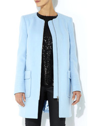 Wallis Blue Collarless Coat