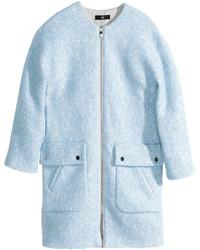 H&M Wool Blend Coat Light Blue Ladies