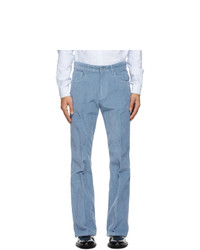 AMI Alexandre Mattiussi Blue Corduroy Flare Trousers