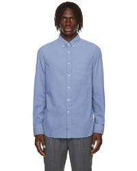 Brunello Cucinelli Blue Corduroy Loose Fit Shirt