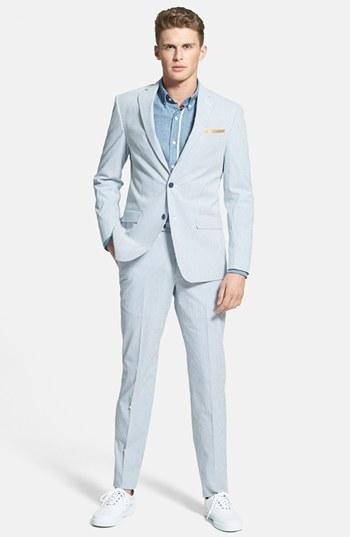 Michael Kors Michl Kors Trim Fit Seersucker Suit Blue White Stripe ...