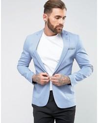 Asos Super Skinny Blazer In Blue Cotton