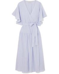 Light Blue Cotton Wrap Dress