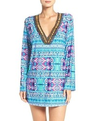 La blanca global beaded cover up tunic medium 801845