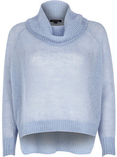 River Island Blue Mohair Cowl Neck Knitted Sweater | Where to buy ...