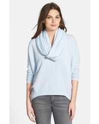 Collection rib knit back cashmere cowl neck pullover medium 109521