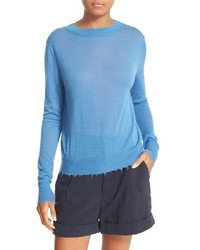Distressed trim cashmere top medium 916207