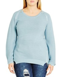 Plus size zip detail crewneck sweater medium 801569