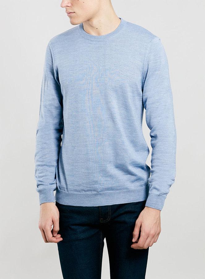 ... Topman Light Blue Merino Blend Crew Neck Sweater ...