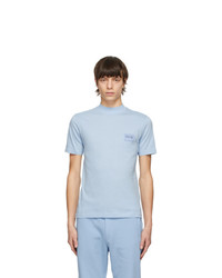 VERSACE JEANS COUTURE Blue Mock Neck Patch Logo T Shirt