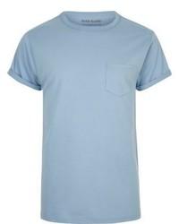 River Island Light Blue Regular Fit Cotton T Shirt