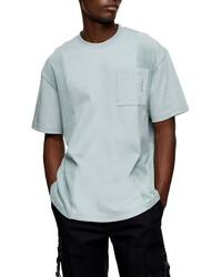 Topman Oversize Mixed Media Pocket T Shirt